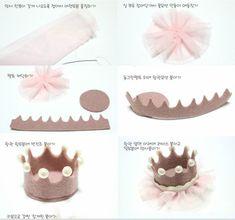 Crown Princess Crown Hair Clip in Felt - Accessories Kids Hair Clips, Felt Hair Clips, Felt Crafts, Diy And Crafts, Crafts For Kids, Diy Headband, Baby Headbands, Crown Headband, Felt Crown