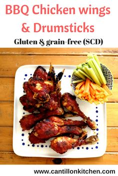 Baked BBQ Chicken wings and drumsticks - Baked Bbq Chicken Wings, Tandoori Chicken, Yummy Appetizers, Appetizers For Party, Homemade Barbecue Sauce, Thanksgiving Recipes, Grain Free, Great Recipes, Food To Make