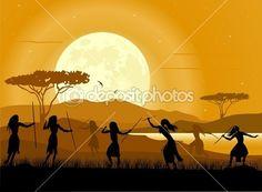 Африка пейзажный фон. африканские охотники и Луна подъем — Stock Illustration #11437565