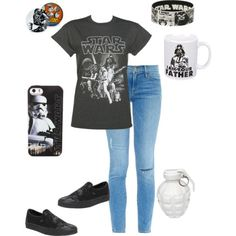 Starwars by tenom on Polyvore featuring polyvore fashion style Frame Denim Vans MollaSpace