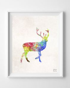 Deer Watercolor Dog Print Deer Painting Animal by InkistPrints, $11.95 - Shipping Worldwide! [Click Photo for Details]
