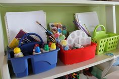 I love this idea! Each tote has a different project and the necessary supplies.