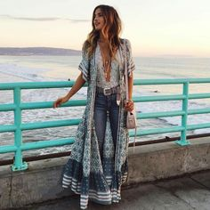Boho long button down dress or Kimono floral print v-neck short sleeve Boho Outfits, Boho Style Dresses, Boho Dress, Fashion Outfits, Fashion Ideas, Casual Dresses, Hippie Chic Outfits, Beach Outfits, Indie Outfits