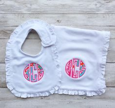 Monogrammed baby gown and beanie boy or girl pink newborn lilly pulitzer monogrammed ruffle bib negle Gallery