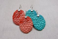 maker:  Karla Way product:lil scales earrings  material:resin & sterling silver handmade in Melbourne