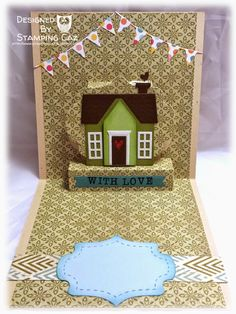 Caz Counsell using the Pop it Ups Lorna Label pop-up die and Holiday House by Karen Burniston for Elizabeth Craft Designs. - A STAMPING & CHIRPING Corner: New Home card