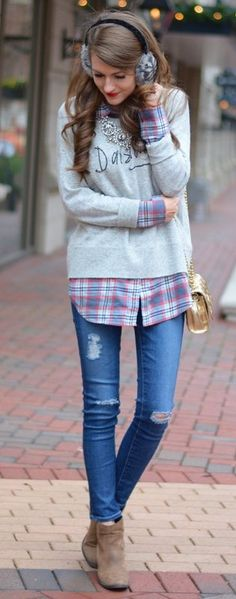 #winter #fashion /  Grey Knit + Printed Shirt + Ripped Skinny Jeans