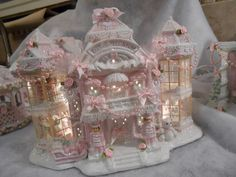 shabby pink victorian christmas lighted village toy house elevators chic roses