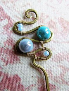 Sky Blue Hairpin Wire Wrapped Brass by Hvitolg on Etsy, $12.00