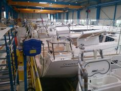 The Jeanneau production line Bay Of Biscay, Production Line, First Class, Boat Building, Sailboat, Boats, Sailing, Sailing Boat, Candle