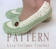 Womens Loafer Slippers - Modern Crochet PATTERN PDF - Instant Download - House Shoes Fashion - Easy Ladies Shoe PATTERN - Crocheted Oxford