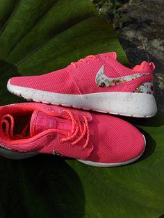 562efd75f01b Splash Ink Nike Roshe Run Custom Floral Roses Hot Punch Fabric Pattern  Flower