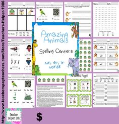 This is a set of 17 activity pages to practice the sounds ir, ur, and er. The words that are practiced in these activities are: her, bird, curl, fern, fur, first, girl, hurt, sir, turn, stir, and third. These are the spelling words for the reading series Houghton Mifflin Harcourt® Texas Journeys story Amazing Animals but can be used with any unit as there is no reference to the story.  There are 25 pages in this product.