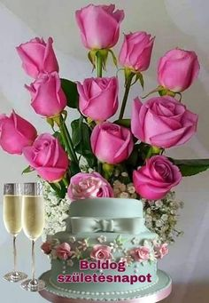 Birthday Wishes Flowers, Birthday Wishes Greetings, Beautiful Roses, Glass Vase, Happy Birthday, Table Decorations, Happy Birthday Photos, Beautiful Flowers, Birthday