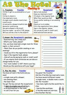 At the hotel worksheet - free esl printable worksheets made English Resources, English Activities, Education English, English Lessons, English Course, English Fun, Learn English, English Language Learning, Teaching English