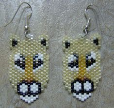 Mountain Lion/ Cougar seed bead earrings on Etsy, $20.00