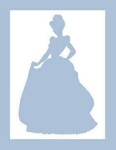 princess party, Cinderella silhouette for backdrop - printable