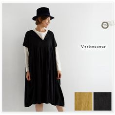 *【Veritecoeur ヴェリテクール】コットン スキッパー ネック ヘリンボーン タック ワンピース (vc1372)