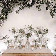 Set Of 6 Glass Bottle Vases (with cork stoppers) – The Wedding of My Dreams Small Wedding Centerpieces, Wedding Decorations For Sale, Vase Centerpieces, Table Decorations, Bottle Vase, Glass Bottles, Clear Glass Vases, Cork Stoppers, Wedding Details