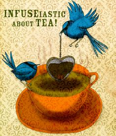 Little, blue, tea fairy wrens are always INFUSEiastic about TEA. A whimsical Monday TEalight, the thought wrens as tea fairies :) What my #Tea says to me October 15. Cheers.