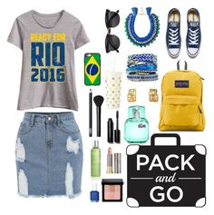 """Pack and Go : Rio"" by dawn-sbh ❤ liked on Polyvore featuring Festuvius, Converse, JanSport, Ricardo Rodriguez, Hipanema, Lacoste, Kate Spade, Casetify, NARS Cosmetics and Bobbi Brown Cosmetics"