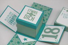 Explosionsbox zum 18. Geburtstag -  Stampin Up - Wimpeleien . Hip. Hip, Hurra - So viele Jahre - Sassy Salutations - Perpetual Birthday - ein Designerstück von Aelidan bei DaWanda