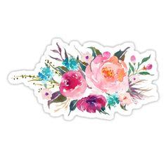 Ramo de flores de la acuarela de la turquesa rosada • Also buy this artwork on stickers, apparel, phone cases y more.