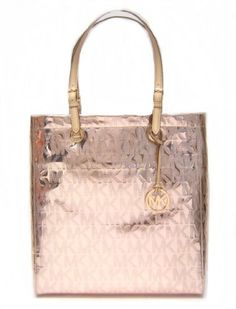 Michael Kors Signature Mirror Metallics PVC N/S Tote in Rose Gold (MK HANDBAGS, TOTES, BAGS, PURSES)