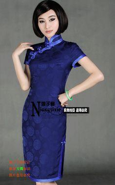 428元!小桑白领公寓娘子写成本中式传统真丝桑蚕丝短袖高端旗袍-淘宝网