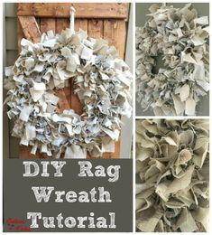DIY Rag Wreath Tutorial - Beginner Level Project & Costs Under $10 - Gathered In The Kitchen Twig Wreath, Diy Fall Wreath, Mesh Wreaths, Spring Wreaths, Holiday Wreaths, Tulle Wreath, Winter Wreaths, Floral Wreaths, Burlap Wreaths