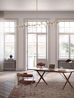 elegant minimalistic scandinavian apartment, writing table, mid century modern