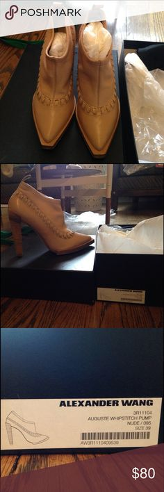 """Alexander wang nude booties Nude leather booties with stretch upper above the whipstitch detail.  5"""" stacked leather heel.  Original box and packaging, including dust bag and extra heel taps.  Very light wear on soles, worn only twice. Alexander Wang Shoes Ankle Boots & Booties"""