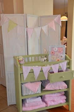 Vintage shabby chic baby girl shower-- sign in table-- use baby changing station