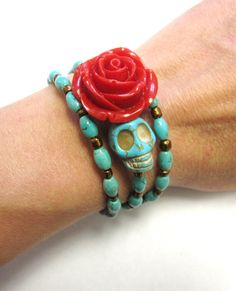 Classic Day of the Dead Bracelet Sugar Skull by sweetie2sweetie, $25.99