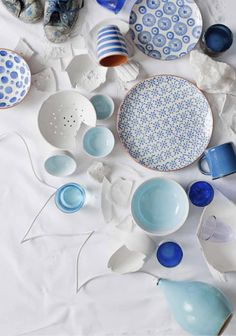 Colourful crockery!  Working with my blue and white oriental ginger jars and other pieces.