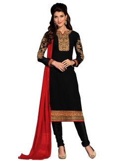 Black Georgette Churidar Suit