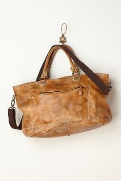 worn leather satchel