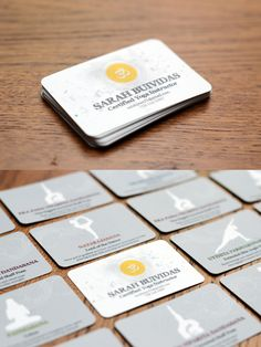 Yoga Business Cards --- There are 6 variations of the card, each with the same front and a different yoga pose on the back. Each pose includes the English name, the Sanskrit name, and a tip from the instructor.    By Nicole Gazzano