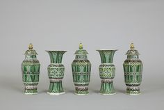 Five-piece garniture, China, 1690, saved from the fire at Clandon Park. © National Trust Images/James Dobson.