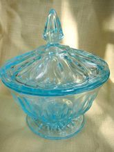 Anchor Hocking Ice Blue Glass Covered Candy Dish: 1960's Thumbprint Design