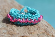 Friendship Bracelet  Rainbow Loom  Teal and Pink with by JJJCrafts, $4.85