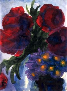 Poppies and Violet Asters - Emil Nolde