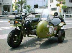 Eine Honda Motra als Gespann (! Mini Motorbike, Mini Bike, Japan Tourism, Honda Ruckus, Bike Pic, Super 4, Japanese Motorcycle, Sidecar, Cool Bikes