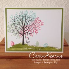 Handmade Easter Tree card - Would look cute, with a little pink bunny on the grass. :) :) :) SU- Sheltering Tree Stamp