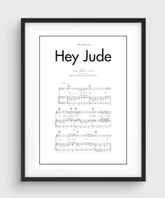 The Beatles Hey Jude Song Music Notes Poster Black & White