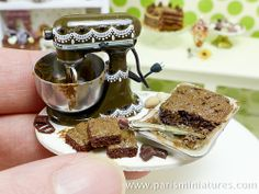 Making chocolate brownies miniature preparation board by Paris Miniatures