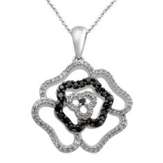 """Sterling Silver Black and White Diamond Rose Pendant Necklace (1/2 cttw, I-J Color, I3 Clarity), 18"""" Amazon Curated Collection. $175.00. Made in India. Save 58% Off!"""