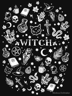 WITCH PATTERN 2 by medusadollmaker For witches of all ages, sizes and shapes! Witchy Wallpaper, Halloween Wallpaper, Goth Wallpaper, Witch Tattoo, Witch Aesthetic, Aesthetic Dark, Aesthetic Drawing, Aesthetic Bedroom, Aesthetic Fashion