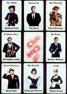 The characters of Clue. For a murder mystery Clue party, I should make signs with characters' names on them for my guests to have behind them. Would make the perfect photo op keepsake Mystery Dinner, Mystery Parties, Ken Jeong, Dave Bautista, Clue Movie, Movie Tv, Clue Themed Parties, Cluedo, Clue Games