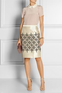 BIYAN Nirina embellished shantung skirt $815  Beautiful embellishments are Biyan's signature. This shantung skirt is adorned with smooth embroidery and dazzling beads. Wear it to dinner with a fluid silk blouse.  Shown here with: Marc by Marc Jacobs top, Chloé cuff, Maiyet ring, Givenchy shoes, Charlotte Olympia clutch.